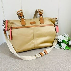 COACH Golden Tan Satin Fabric & Leather Large Tote